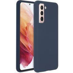 Accezz Cover in Silicone Liquido Samsung Galaxy S21 - Blu scuro