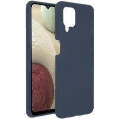 Accezz Cover in Silicone Liquido Samsung Galaxy A12 - Blu scuro