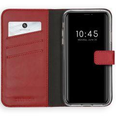 Selencia Custodia Portafoglio in Vera Pelle iPhone Xs - Rosso