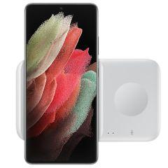 Samsung Duo di caricabatterie senza fili Duo Galaxy Phone / Watch / Buds / iPhone / AirPods - Bianco