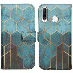 iMoshion Design Custodia a Libro Morbida Huawei P30 Lite - Green Honeycomb