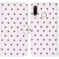 iMoshion Design Custodia a Libro Morbida Huawei P30 Lite - Hearts Allover White
