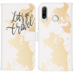 iMoshion Design Custodia a Libro Morbida Huawei P30 Lite - Let's Go Travel White