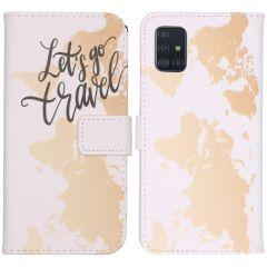 iMoshion Design Custodia a Libro Morbida Samsung Galaxy A51 - Let's Go Travel White