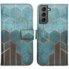 iMoshion Design Custodia a Libro Morbida Samsung Galaxy S21 - Green Honeycomb