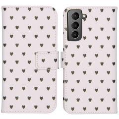 iMoshion Design Custodia a Libro Morbida Samsung Galaxy S21 - Hearts Allover White