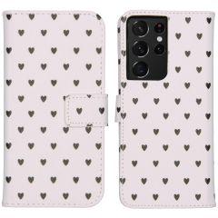 iMoshion Design Custodia a Libro Morbida Samsung Galaxy S21 Ultra - Hearts Allover White