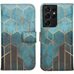 iMoshion Design Custodia a Libro Morbida Samsung Galaxy S21 Ultra - Green Honeycomb