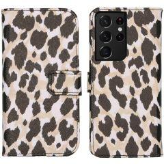 iMoshion Design Custodia a Libro Morbida Samsung Galaxy S21 Ultra - Golden Leopard