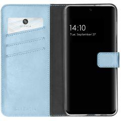 Selencia Custodia Portafoglio in Vera Pelle Samsung Galaxy A32 (5G) - Azzurro