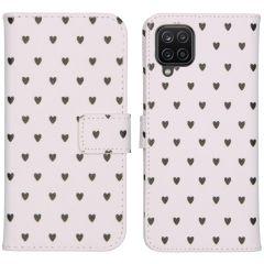 iMoshion Design Custodia a Libro Morbida Samsung Galaxy A12 - Hearts Allover White