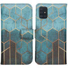 iMoshion Design Custodia a Libro Morbida Samsung Galaxy A51 - Green Honeycomb